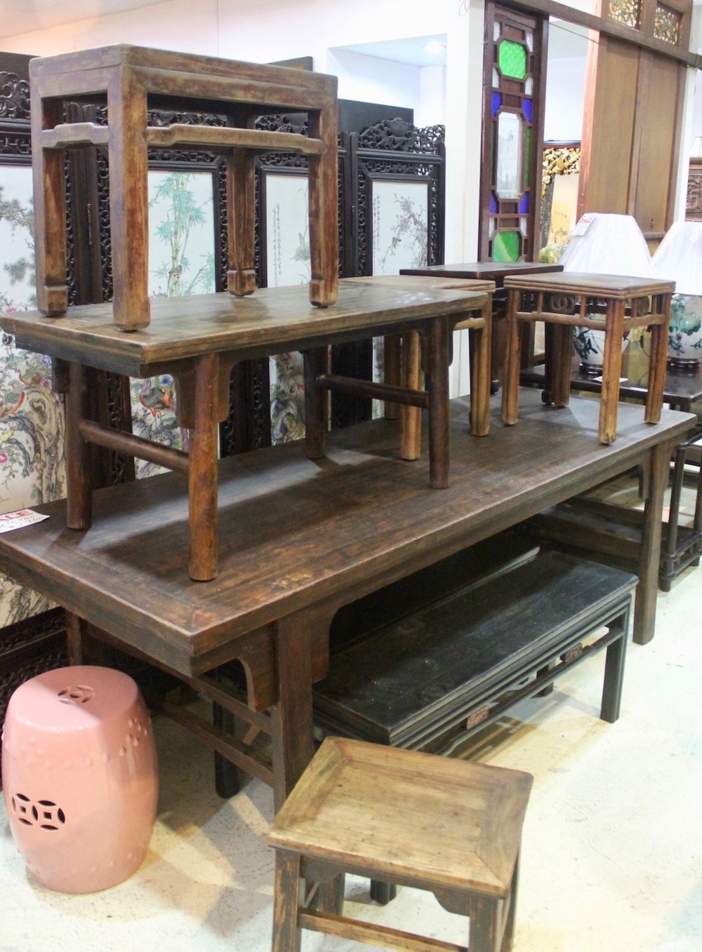A wide selection old benches and stools from China