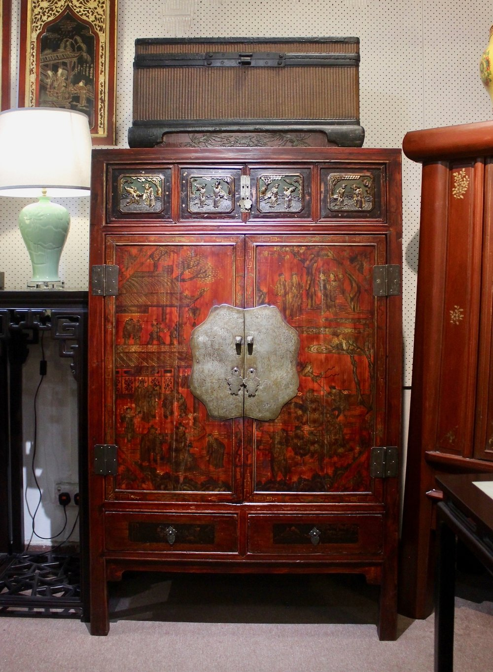 A cabinet with beautiful original paintings, carvings & brass plate from Wenzhou. Top: an antique fine rattan weaved box.