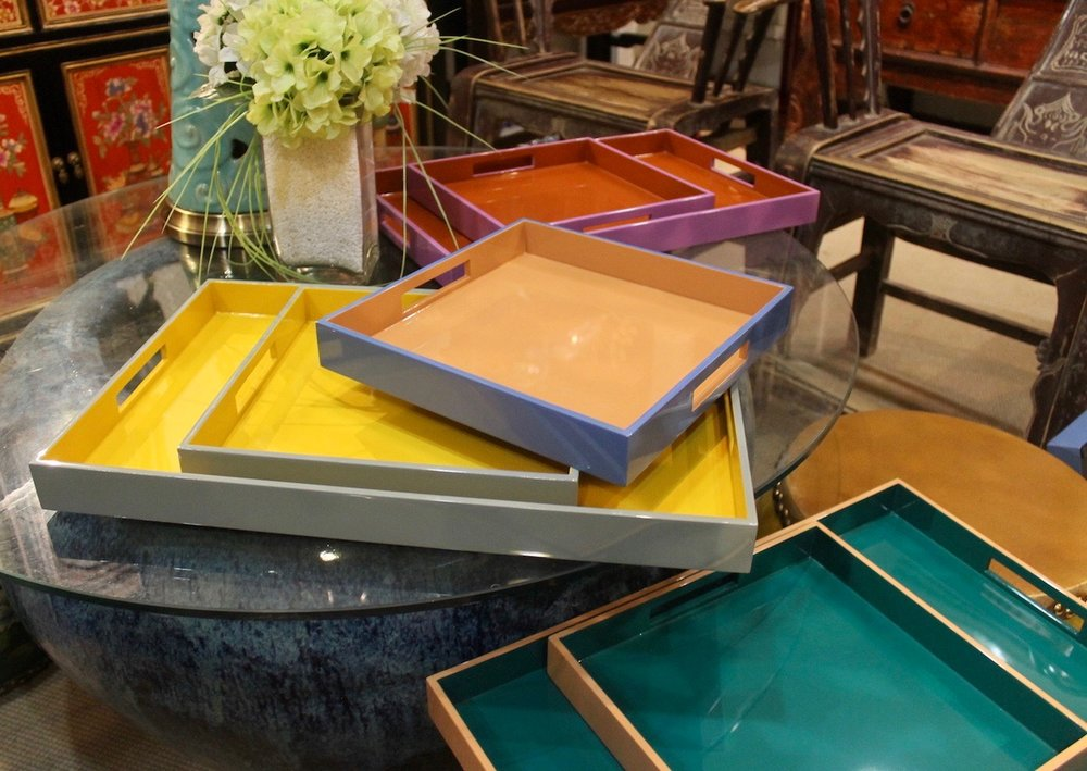 Our new collection of lacquer trays are in store now! Available in 4 colourways and 2 sizes (square & rectangular). Mustard/grey, Rust/purple, Sand/blue, Teal/sand.