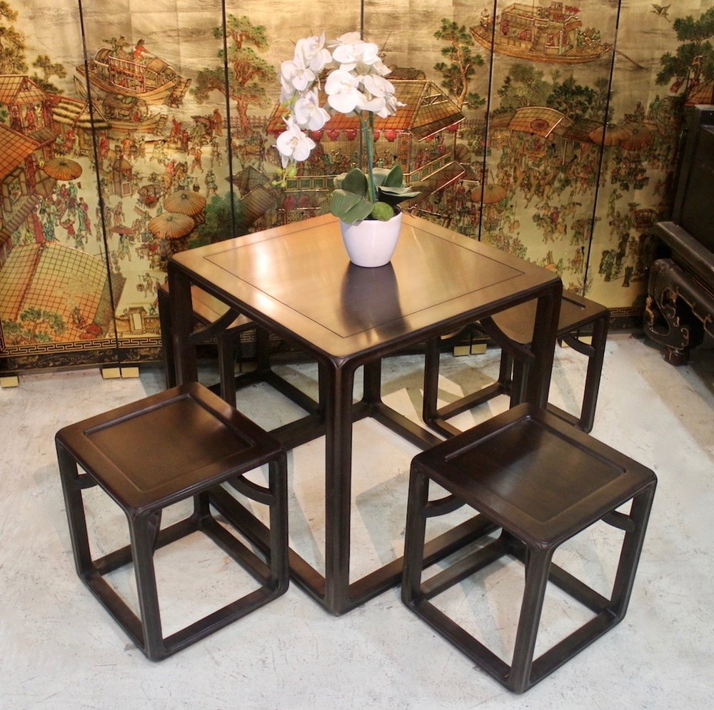 """Chickenwing"" wood square table and 4 stools set"