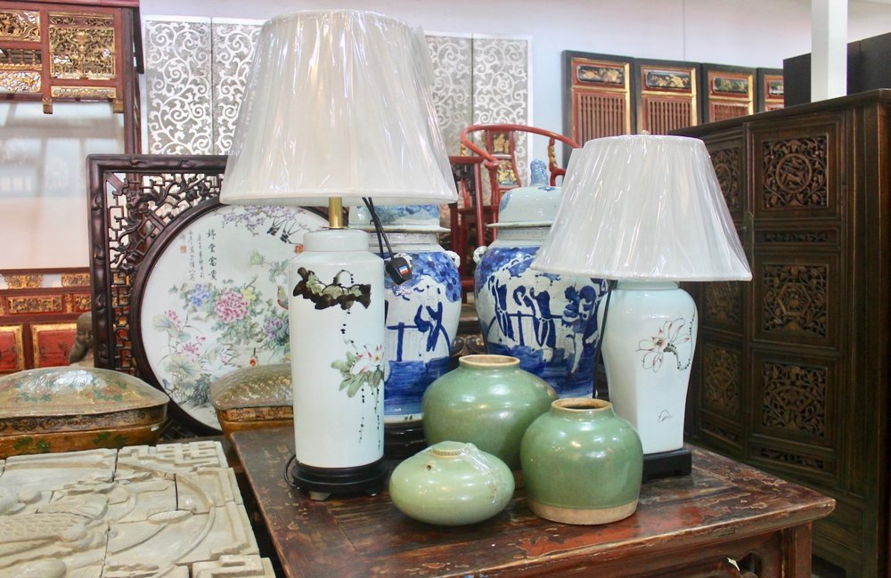 """New """"Zen"""" porcelain table lamps, new blue & white jars & old small green pots from Zhejiang"""