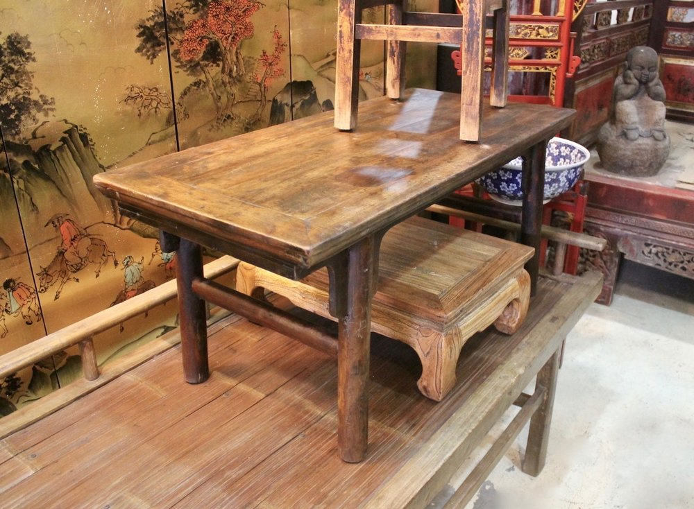 Elm & bamboo daybed, Elm wood small tables and stools