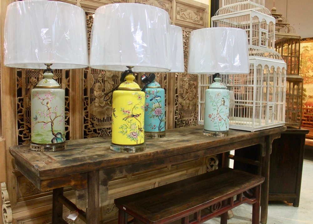 Antique painting table, table lamps, birdcage (1).jpg