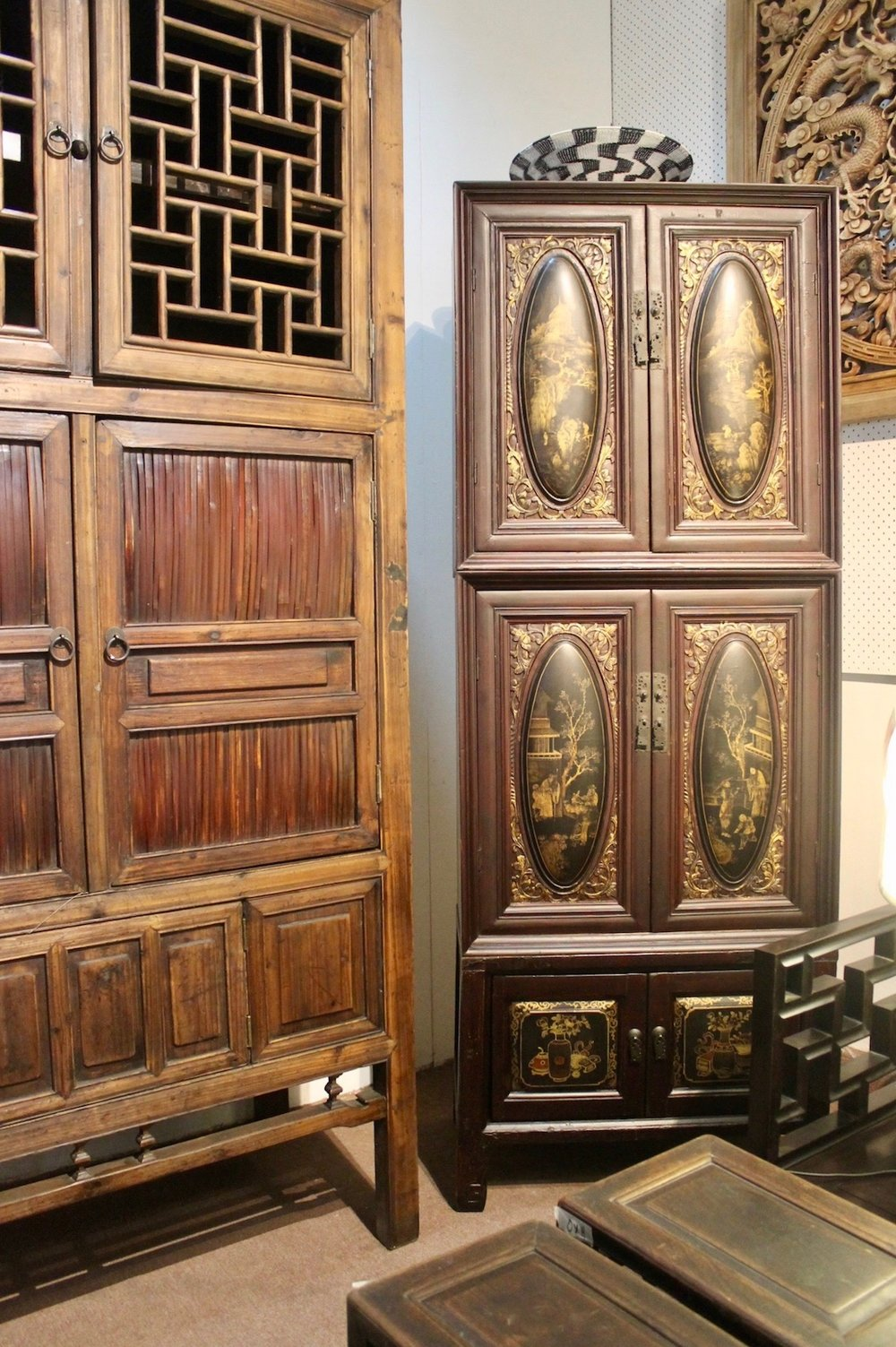 Tall bamboo & elm kitchen cabinet from Zhejiang; an antique 3-tier lacquered cabinet from Teochew
