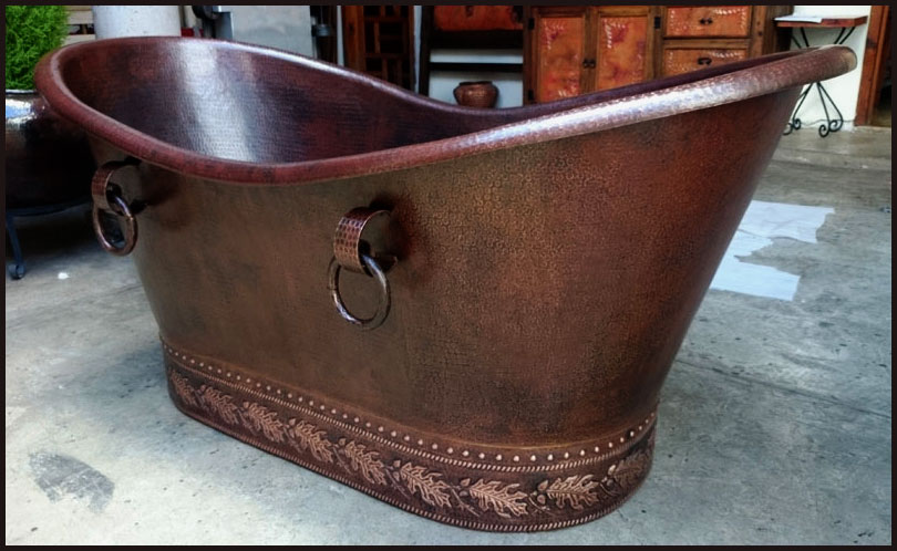Custom Copper Free Standing Tub With Embossing.