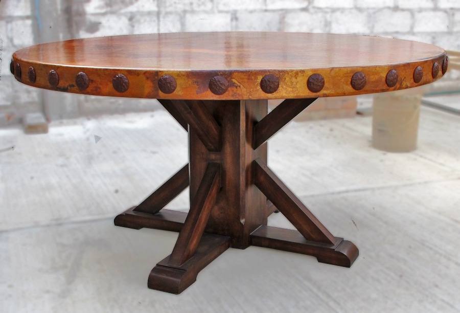 FEATURED RUSTIC CUSTOM COPPER ROUND DINING TABLE  : rustic round copper top dining table wood table base from customcopperworks.biz size 900 x 612 jpeg 290kB