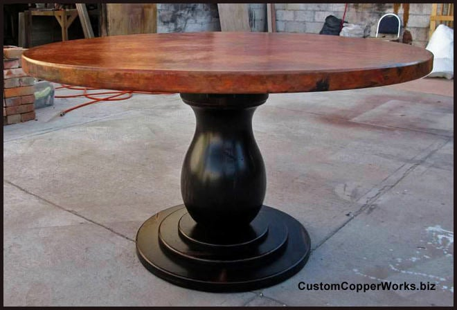 ROUND COPPER TOP DINING TABLE: 54 Inch Diameter Round Copper Top Table;  Distressed Wood