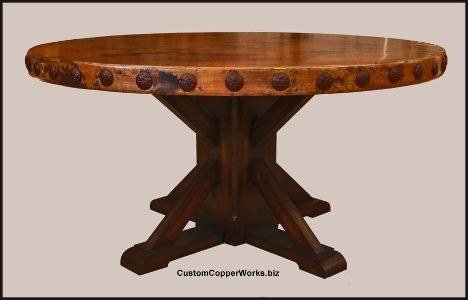 ROUND COPPER TOP DINING TABLE: Copper Table Top 60 Inch Diameter With 2.5  Inch Side