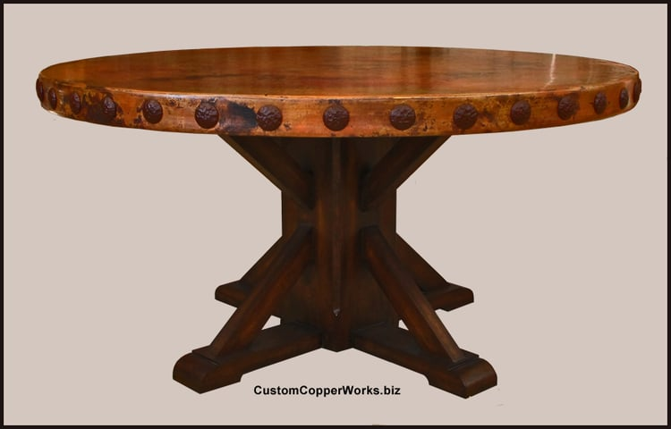 Copper Top Dining Table Rustic Wood Base Concha Adornment - 60 inch reclaimed wood dining table
