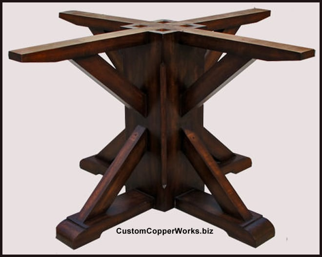 Copper Top Dining Table Rustic Wood Base Concha Adornment 134
