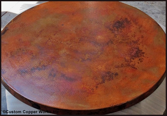 Copper top dining table rustic wood base concha adornment 1 34 custom mexican copper - Inch round wood table top ...