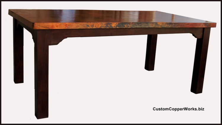 Rectanglar Copper Top Dining Table; Farmhouse Wood Table Base. Dimensions  72