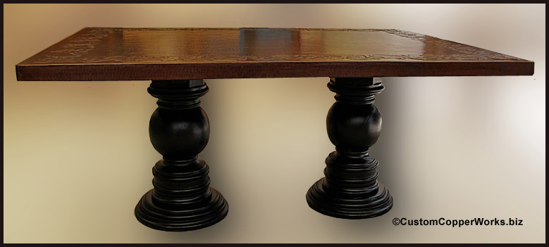Rectangle Copper Top Dining Table Double Pedestal Wood base