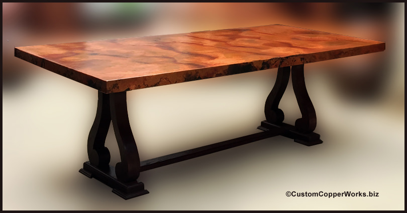 RECTANGLE COPPER TOP DINING TABLE Copper Table Top mounted on Oak