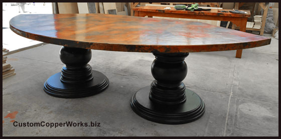 Large Banquette Copper Top Dining Table