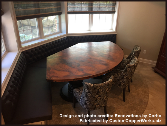 Banquette copper top dining table; double wood pedestal table base ...