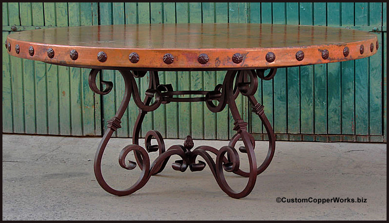 Rustic Round Copper Top Dining Room Table Handforged Iron