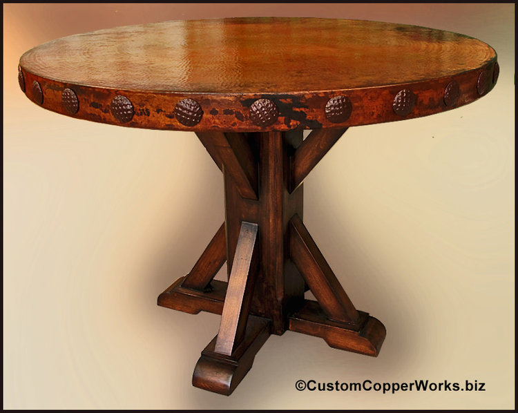 Copper Top Dining Table; Rustic Wood Base, Concha Adornment 1-50 ...