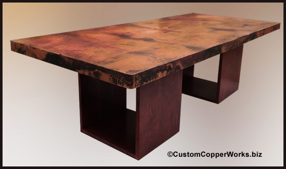Attrayant RECTANGULAR HAND HAMMERED, MEXICAN COPPER TOP DINING TABLE: Large Copper  Table Top
