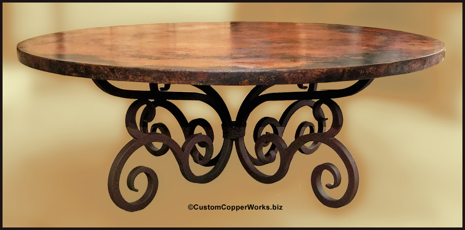 ROUND COPPER TOP DINING TABLE: Large 84u201d Round Copper Top Dining Table;  Forged
