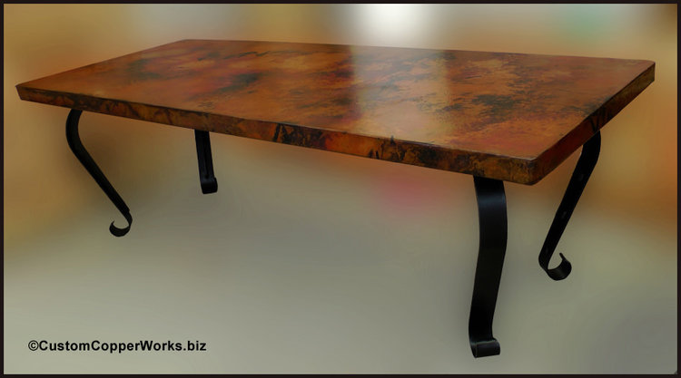 Rectangular, Copper, Dining Room Table; Forged Iron Table Base 1 ...