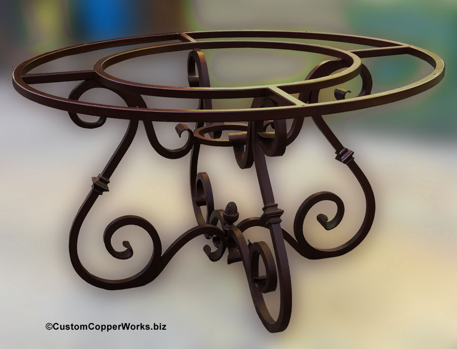 Canela Hand Forged,u0026nbsp;Curled Wrought Iron Table Base For Round Copper  Table