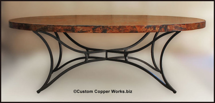 Oval Copper Top Dining Room Table/Forged Iron Base / SKU#64 — Custom ...