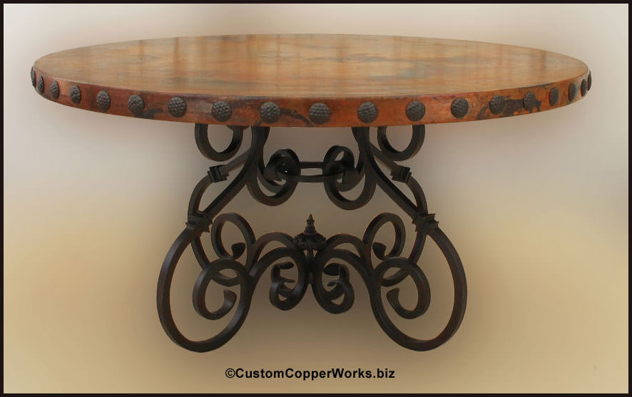 ROUND, COPPER TOP DINING TABLE  60 Inch Diameter With 2.5 Inch Side Drop;