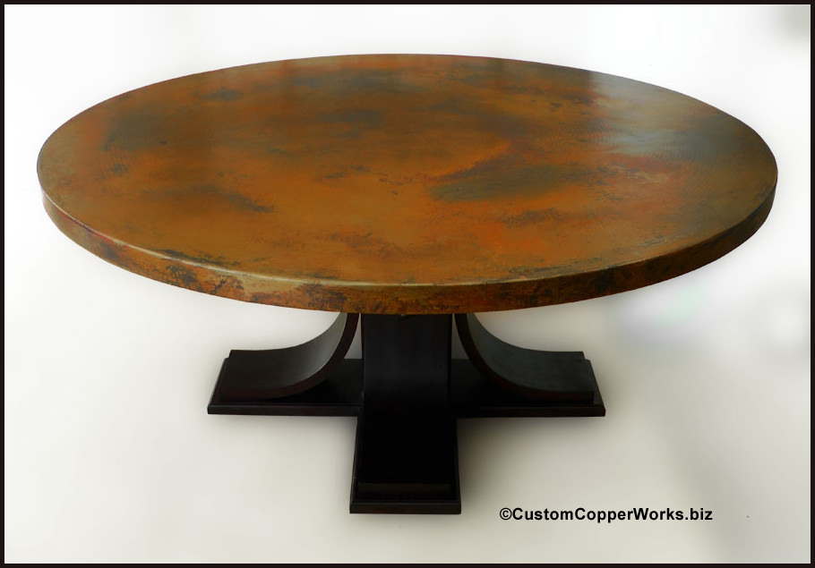 large 72u201d round copper top dining table oak wood pedestal table base