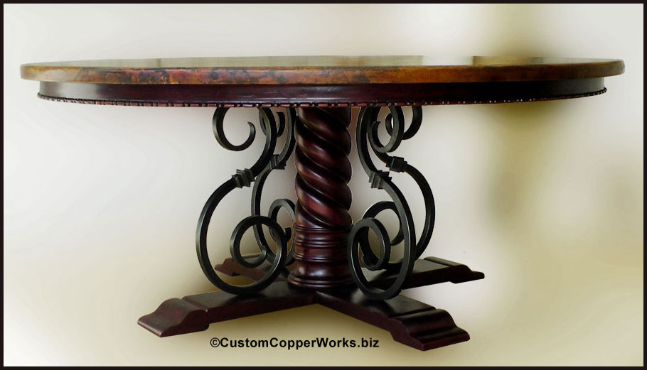 Large ROUND COPPER TOP DINING TABLE Copper Top Table  : Large 72E2809D round copper top dining table Wood Forged Iron Pedestal Table Base from customcopperworks.biz size 910 x 521 jpeg 62kB
