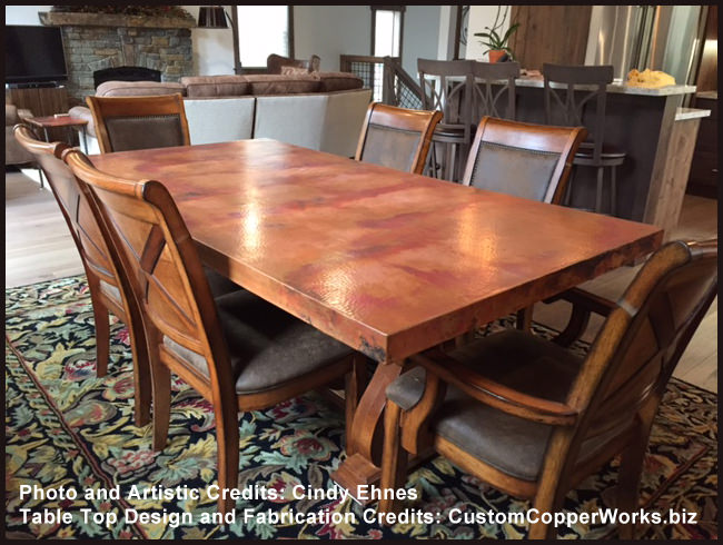 Rectangle Copper Table Top Dining Table Mounted on Oak Wood Trestle ...