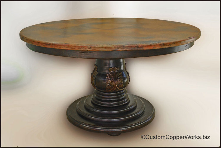 ROUND DINING TABLE Copper Top Dining Table Wood Pedestal Table - Hammered copper round dining table