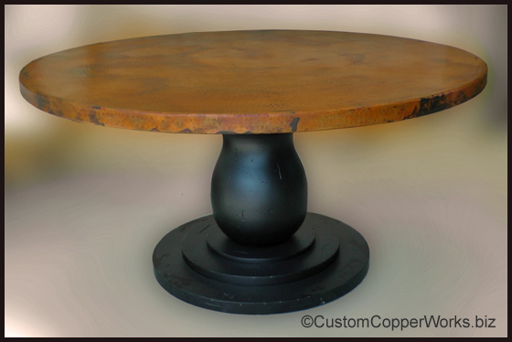 ROUND COPPER TOP DINING TABLE: 60 Inch Diameter Round Copper Top Table;  Distressed Wood