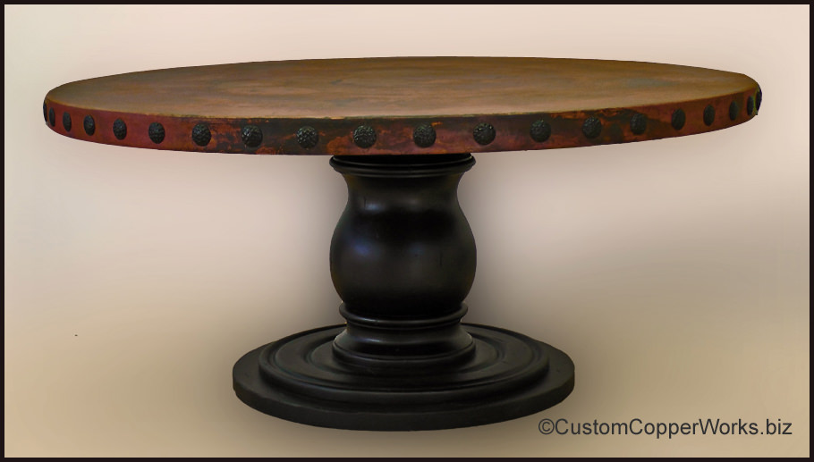 RUSTIC, ROUND, COPPER DINING TABLE: 70 Inch Round Copper Table Top With  Decorative