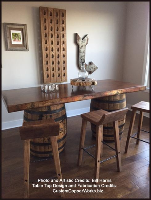 RECTANGULAR U0026nbsp;COPPER TOP 84u201d X 36u201d Mounted On Two Antique Whiskey  Barrels