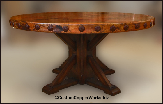 Rustic Hand Hammered Copper Table Top Mounted On Rustic