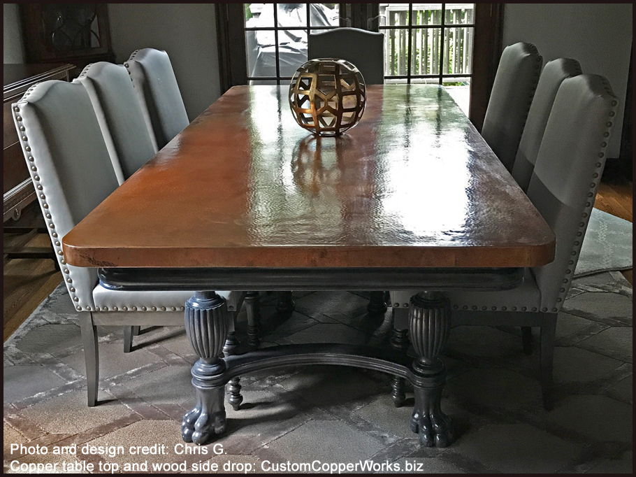Copper Table Tops - Copper Top Dining Tables - Copper Bath Tubs ...