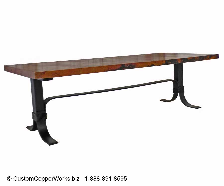 Copper Top dining table mounted on forged-iron, welded flat iron Industrial Chic table base.