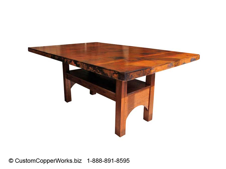 Counter Height, Contemporary, Wood Trestle Copper Top Dining Table U2013 84u201d X