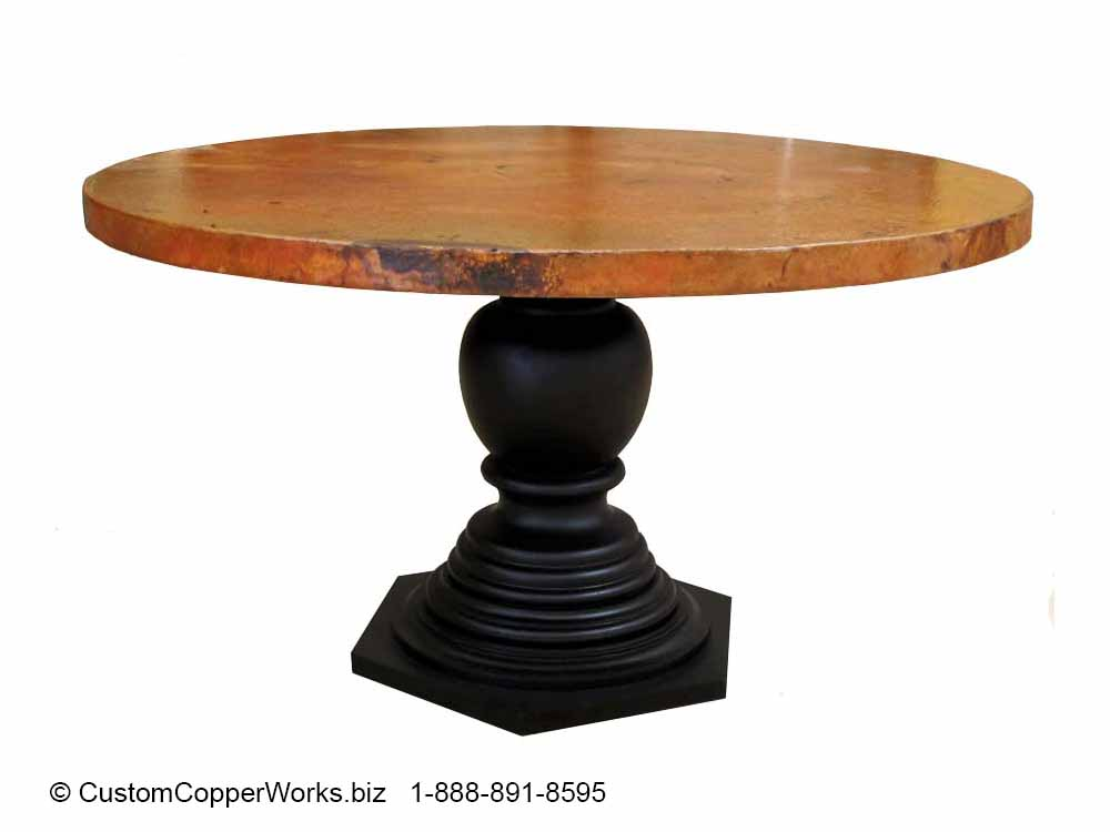 "Copper Top Dining Table - 54"" diameter with 2"" side drop mounted on the  Corina  Wood Single Pedestal Table Base ."
