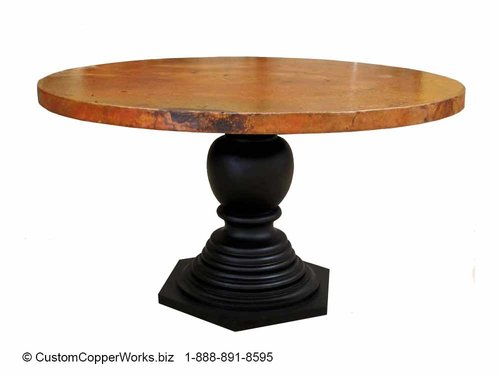 Round Copper Top Dining Room Table/Wood, Pedestal Table Base / SKU ...