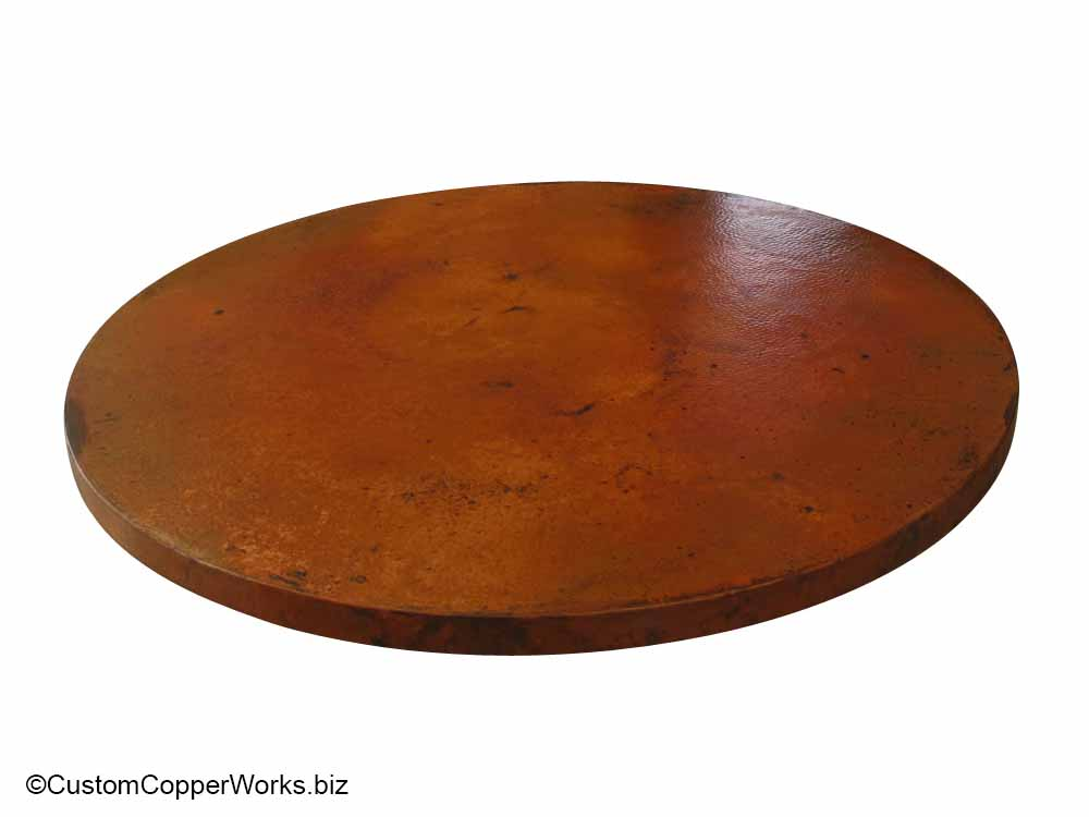 "Copper Top Dining Table - 54"" diameter with 2"" side drop mounted on the Corina Wood Single Pedestal Table Base-4"