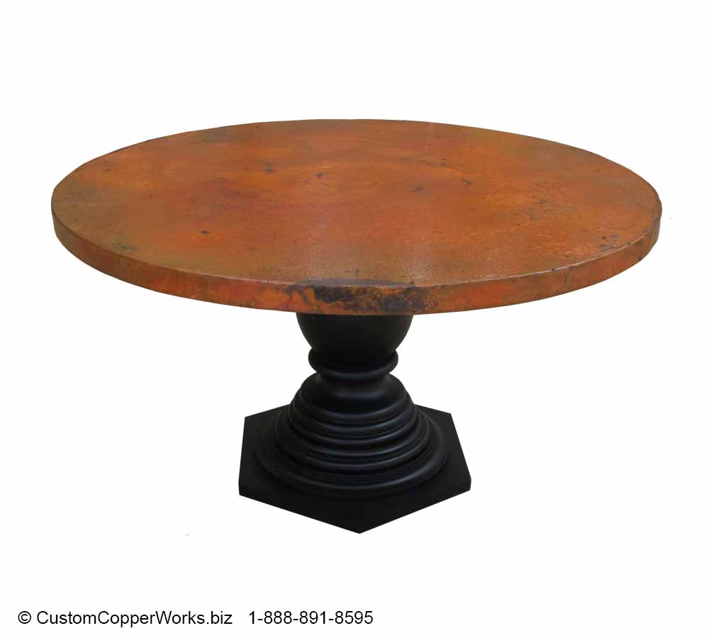 "Copper Top Dining Table - 54"" diameter with 2"" side drop mounted on the Corina Wood Single Pedestal Table Base-2"