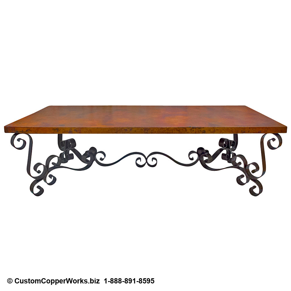 Copper Table Top Dining Room Table / Forged Iron Table Base