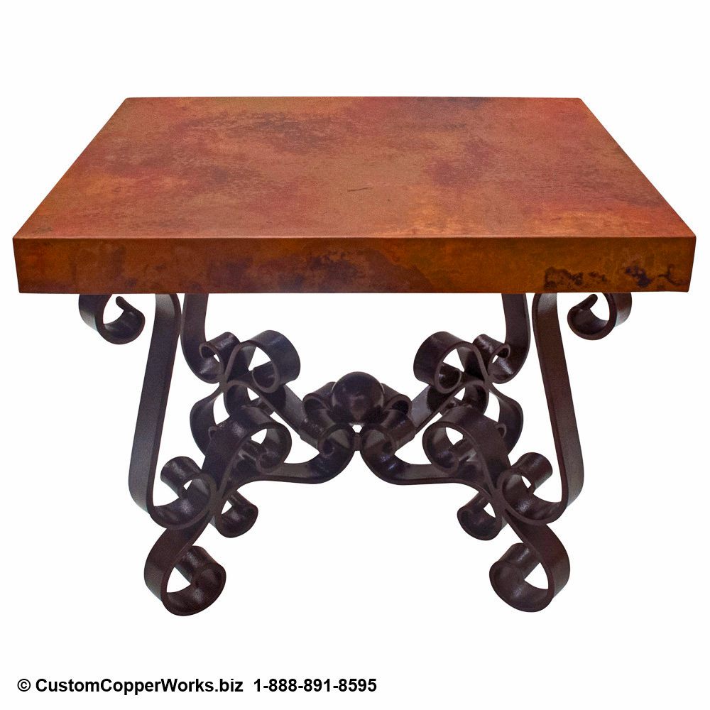 Copper Top End Table  / Forged Iron Table Base
