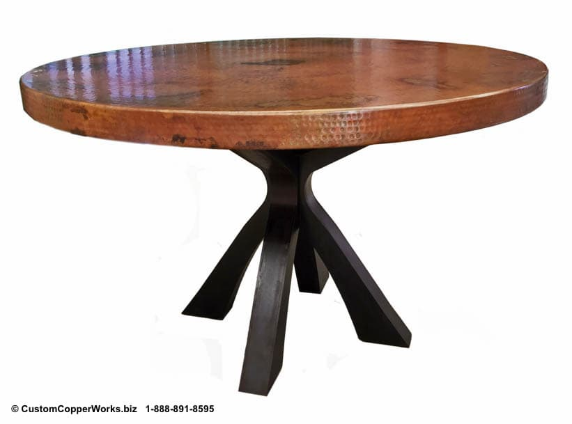 Copper Top Round Table mounted on Soft Industrial Chic Style, Forged-iron Table Base: 52 inch round, 2.5 inch side drop.