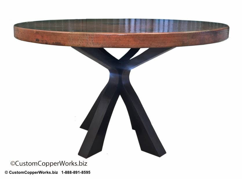 Copper Top Round Table mounted on Soft Industrial Chic Style, Forged-iron Table Base: 52 inch round, 2.5 inch side drop - 3