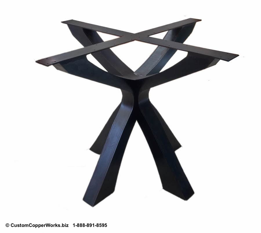 Copper Top Round Table mounted on Soft Industrial Chic Style, Forged-iron Table Base: 52 inch round, 2.5 inch side drop - 4