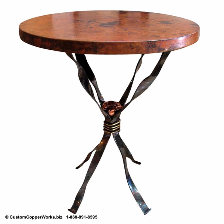 ROUND COPPER END TABLE: Hammered, Copper Table Top mounted on the Ribbon, Hand-forged Lorena Iron Base Accentuated with Copper Rose and Brass Adornment.