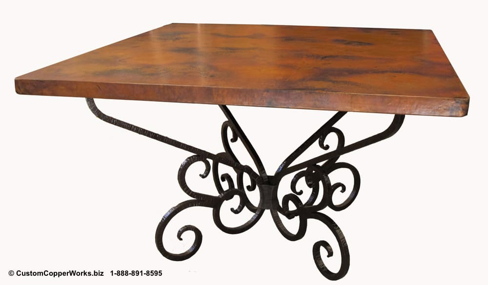 COPPER TOP SQUARE DINING TABLE, SCROLLED FORGED IRON TABLE BASE-2